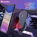 Coolreall 15 w montagem do carro carregador sem fio para iphone 11 pro xs xr x suporte do telefone carro de carregamento rápido para huawei p30 samsung s10 s9