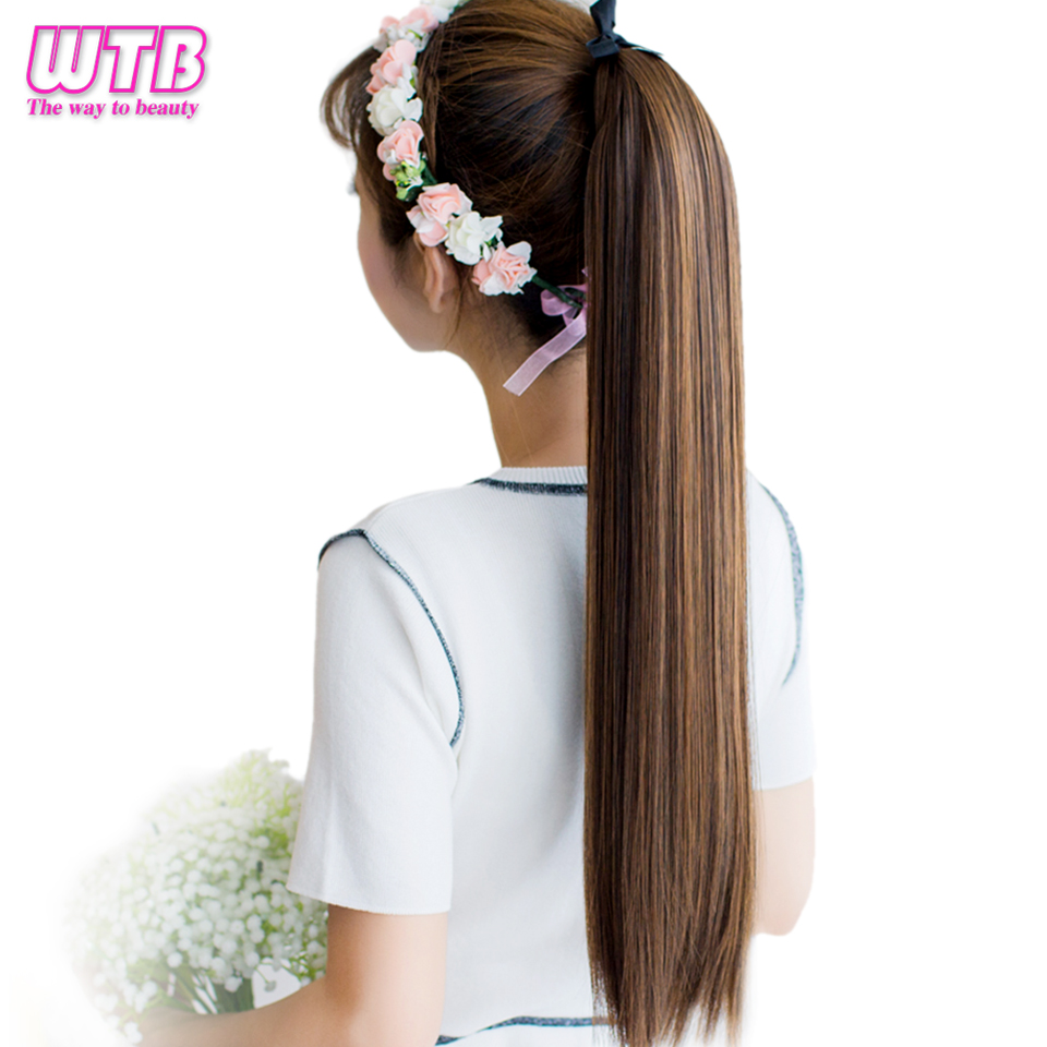 WTB Synthetic Long Straight Drawstring Ponytail Clip In Hair Extensions For Women Heat Resistant Fiber Hairpieces