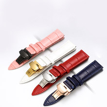 Kulit Asli Watchband Watch Tali Sabuk Wanita Jam Tangan Band Biru Pink Merah Putih Pink Buckle 12 Mm 14 Mm 16mm 18 Mm 20 Mm(China)