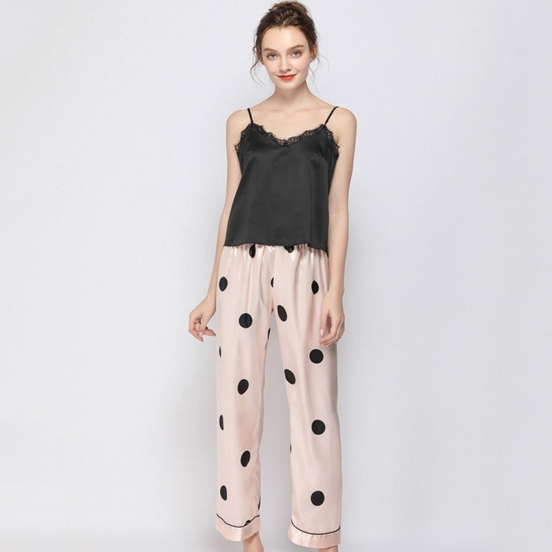 QWEEK Lace Pijama Homewear Polka Dot Pyjamas Pajamas Sets 2 Pieces Nightie Print Sleep Wear Home Clothes For Women Lounge Wear