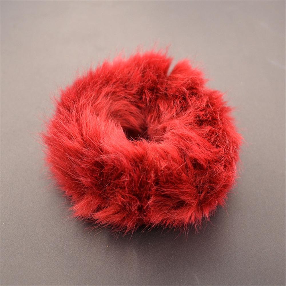 Милые эластичные резинки для волос для девочек, искусственный мех, резиновое эластичное кольцо, веревка, пушистый галстук, аксессуары для волос, меховые резинки, повязка на голову - Цвет: A6
