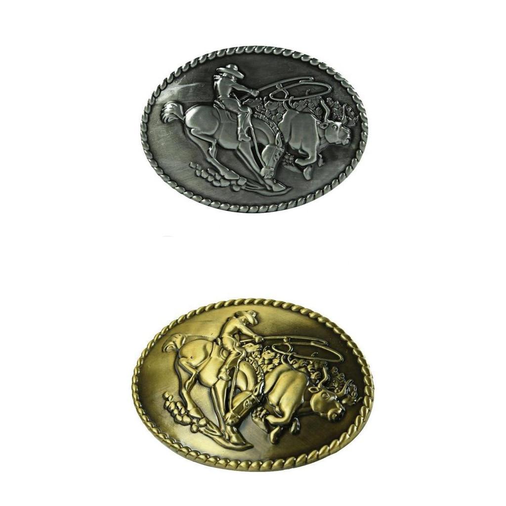 2 Pieces Buckle For Western Belt Oval Cowboy Ornaments Belt Buckles Gold Slive Color  Man Women Cool Belt Buckle