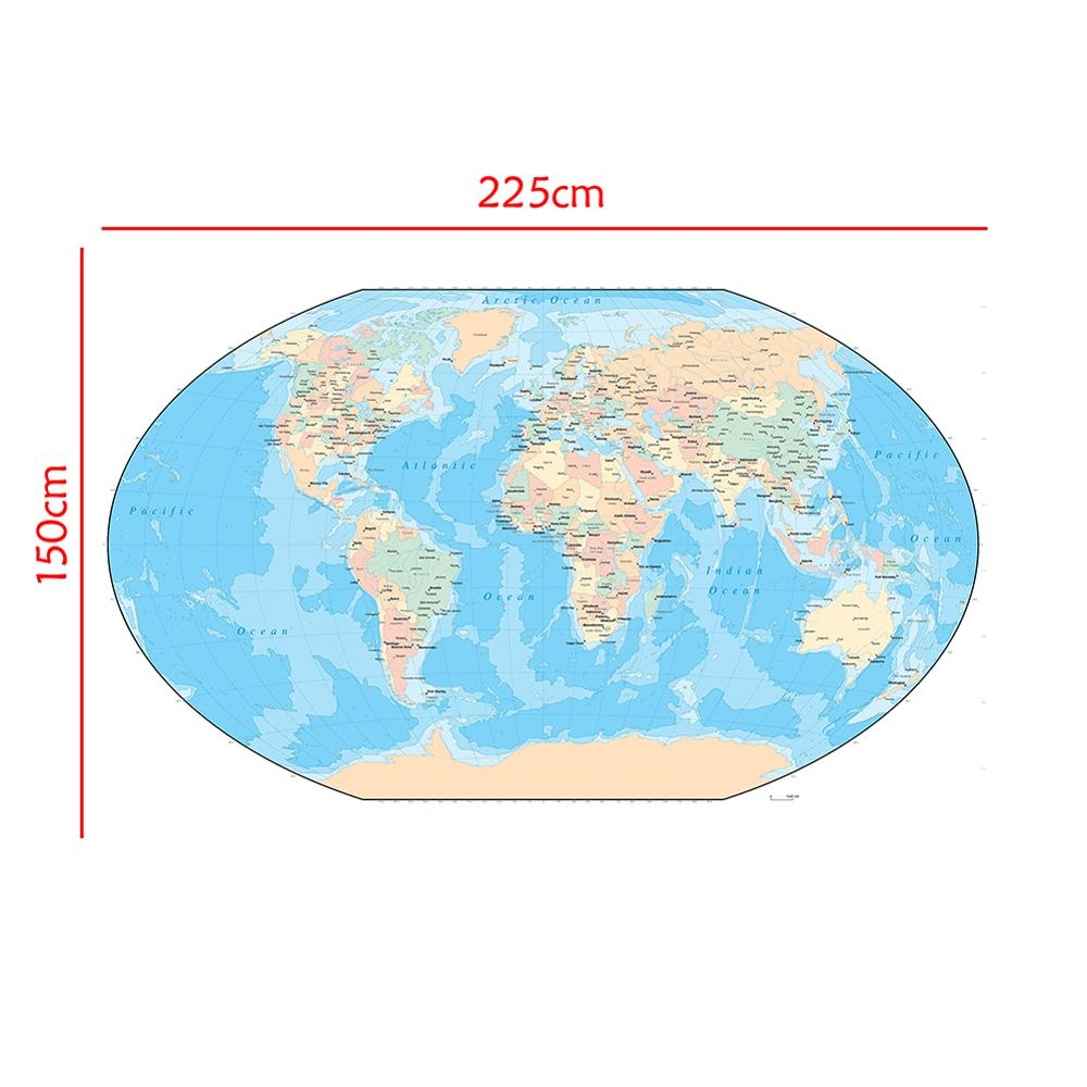 The World Map150x225cm Non-woven Waterproof Map Without National Flag For Education
