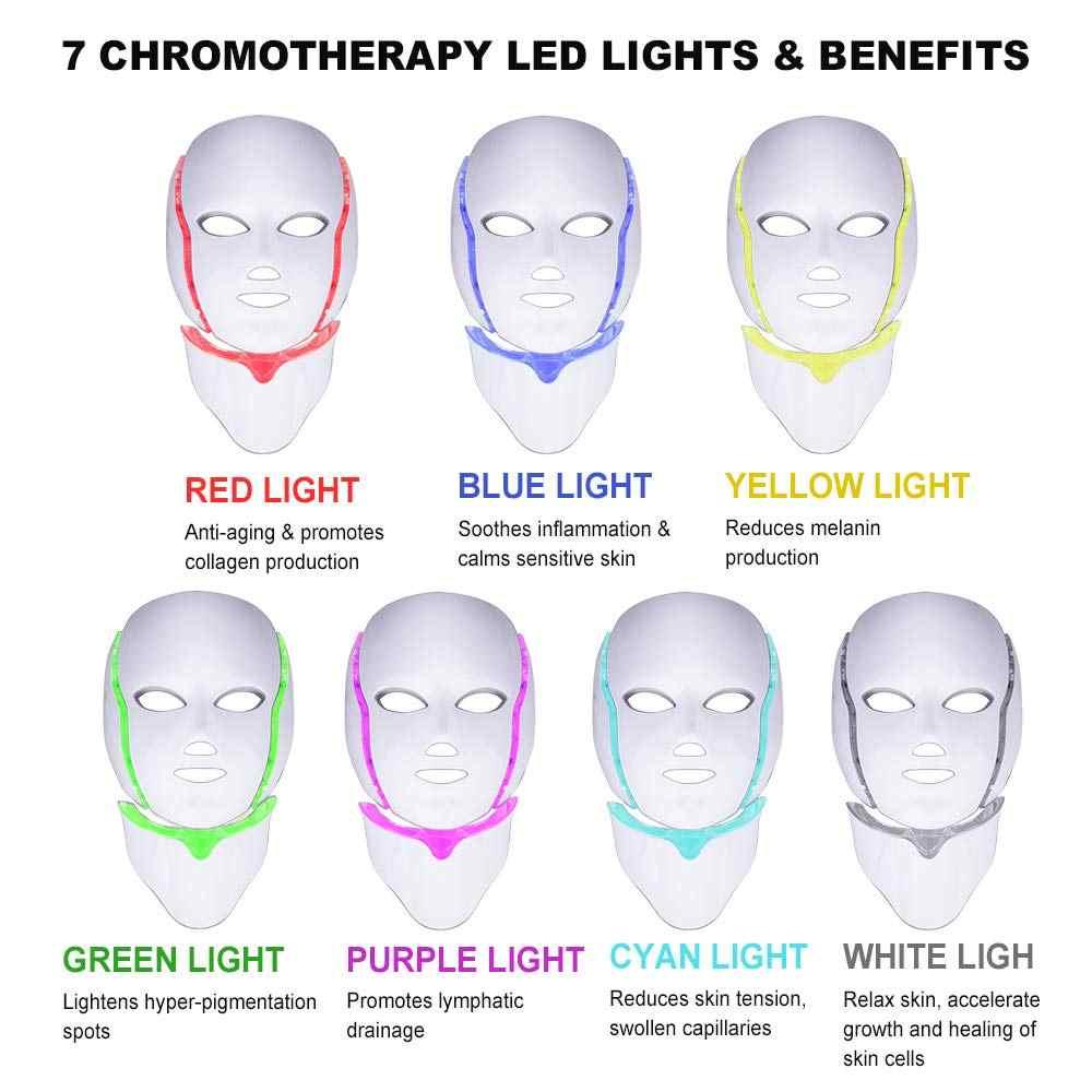 Beauty Star 7 สี Photon ไฟฟ้า LED หน้ากากคอ EMS Micro-current ริ้วรอยกำจัดสิวฟื้นฟูผิว LED face Mask