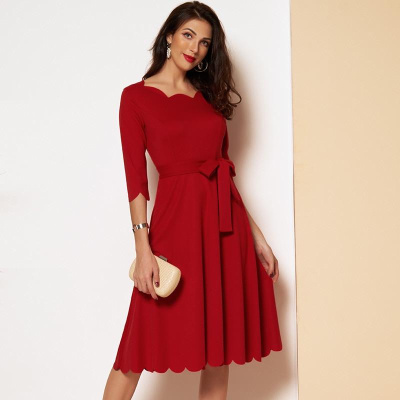 MAI&FUN Elegant Scallop Edge Bodycon Dress Women 3/4 Sleeve Solid Pencil Dresses Woman Party Night Ladies Midi Dress|Dresses| - AliExpress