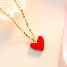 2019 New Fashion Red Hearts Love Texture Pendant Necklace For Women Gold Color Chain Collarbone Necklace Girls Jewelry Wholesale(China)