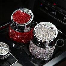 Cenicero de lujo con diamantes para coche, soporte de Cenicero para coche, Color rosa, blanco, dorado, Cristal brillante, con cubierta, gran regalo para mujeres y niñas