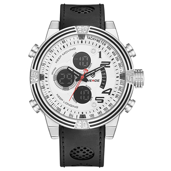 Weide Mens Casual Fashion numeral Digital Display Quartz Multiple Time Zone Auto Date Alarm Leather Strap belt WristWatches