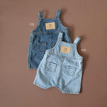 2021 Toddler Baby Summer New Jeans Boys Fashion Pocket Decoration Short Trousers Kid Girls Suspenders Denim Pants Overalls