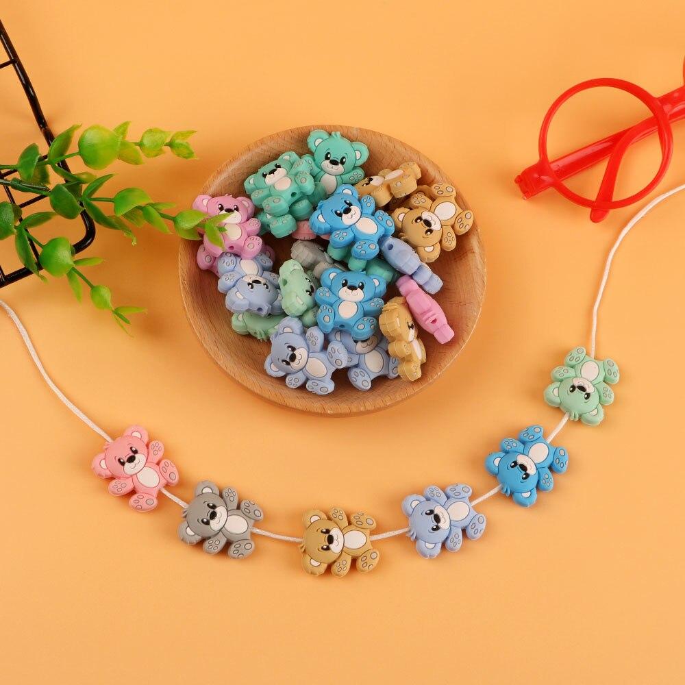 Kovict 50/100pcs BPA Free Animal Silicone Beads  Baby Teething Necklace Toy bear  Food Grade Silicone Cartoon Nursing Tiny Rod