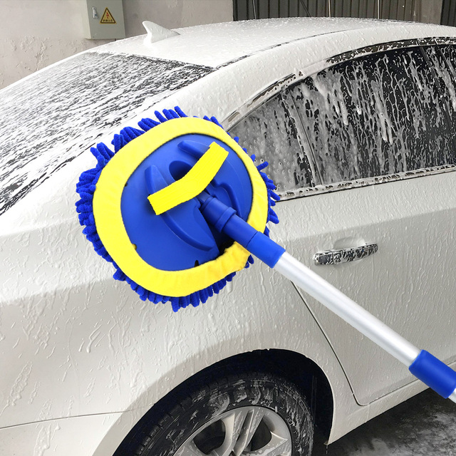 Cepillo de lavado de coches telescópico de mango largo, mopa de limpieza, cepillo de limpieza de coche, escoba de chenilla, accesorios para automóviles
