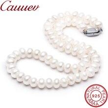 Cauuev niesamowita cena AAAA wysokiej jakości naturalna perła słodkowodna naszyjnik dla kobiet 3 colors8 9mm perła biżuteria wisiorki prezent