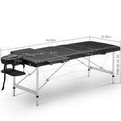 Черный 84 Портативный Регулируемый массажный стол с футляром для переноски Алюминиевые ножки 3 с секциями для салона, кровати