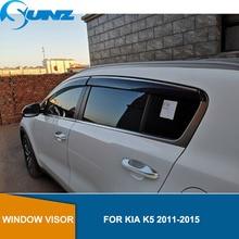 цена на Side window deflectors For KIA K5 2011 2012 2013 2014 2015  Window Visor Vent Shades Sun Rain Deflector Guard SUNZ