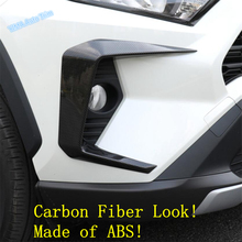 Lapetus Auto Styling Front Fog Lights Foglight Lamp Frame Cover Trim Fit For TOYOTA RAV4 RAV 4 2019 2020 ABS Chrome Carbon Fiber dwcx abs carbon fiber style front seat heating switch button cover trim frame panel car styling fit for toyota rav4 2019 2020