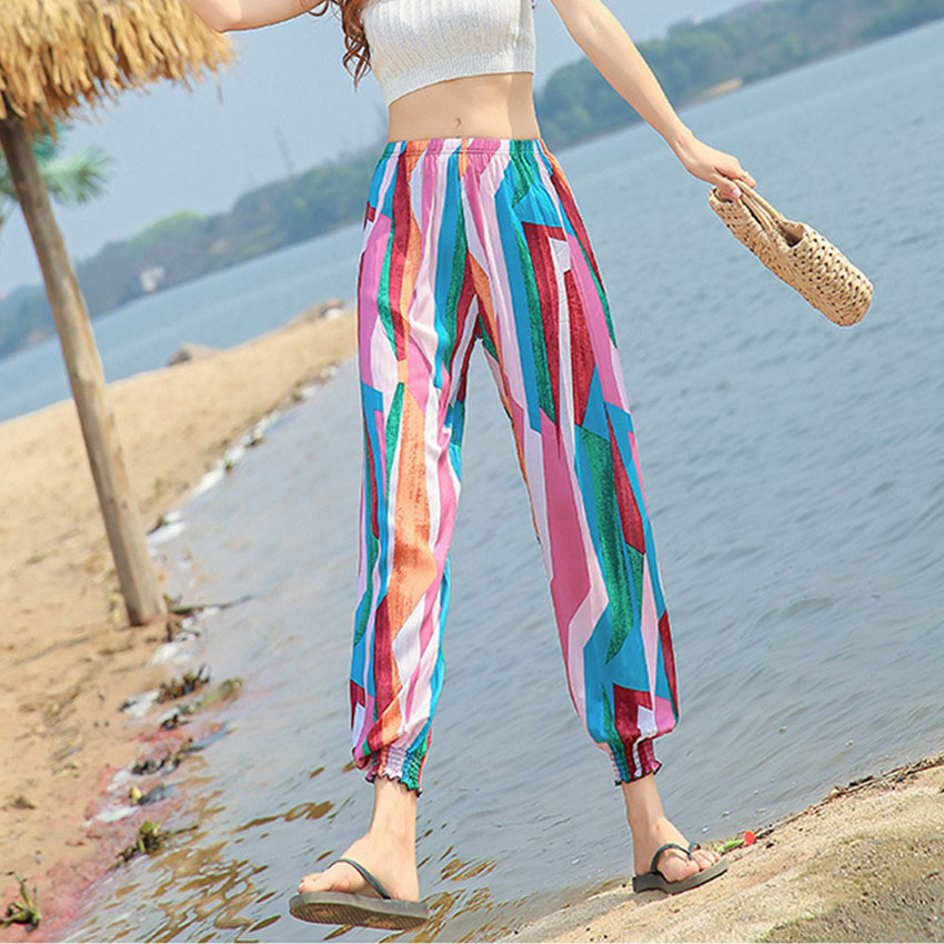 Lantern Print Casual Pants Women Summer Vintage Bohemian Plus Size Wide Leg Pants Women Plaid Striped Beach Trousers Sweatpants