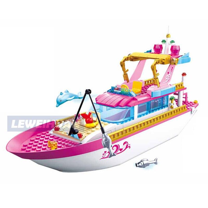 Friends Yacht House Building Blocks Princess Villa Castle Girls Figures Bricks Set Toys Kids Gifts Compatible Legoes