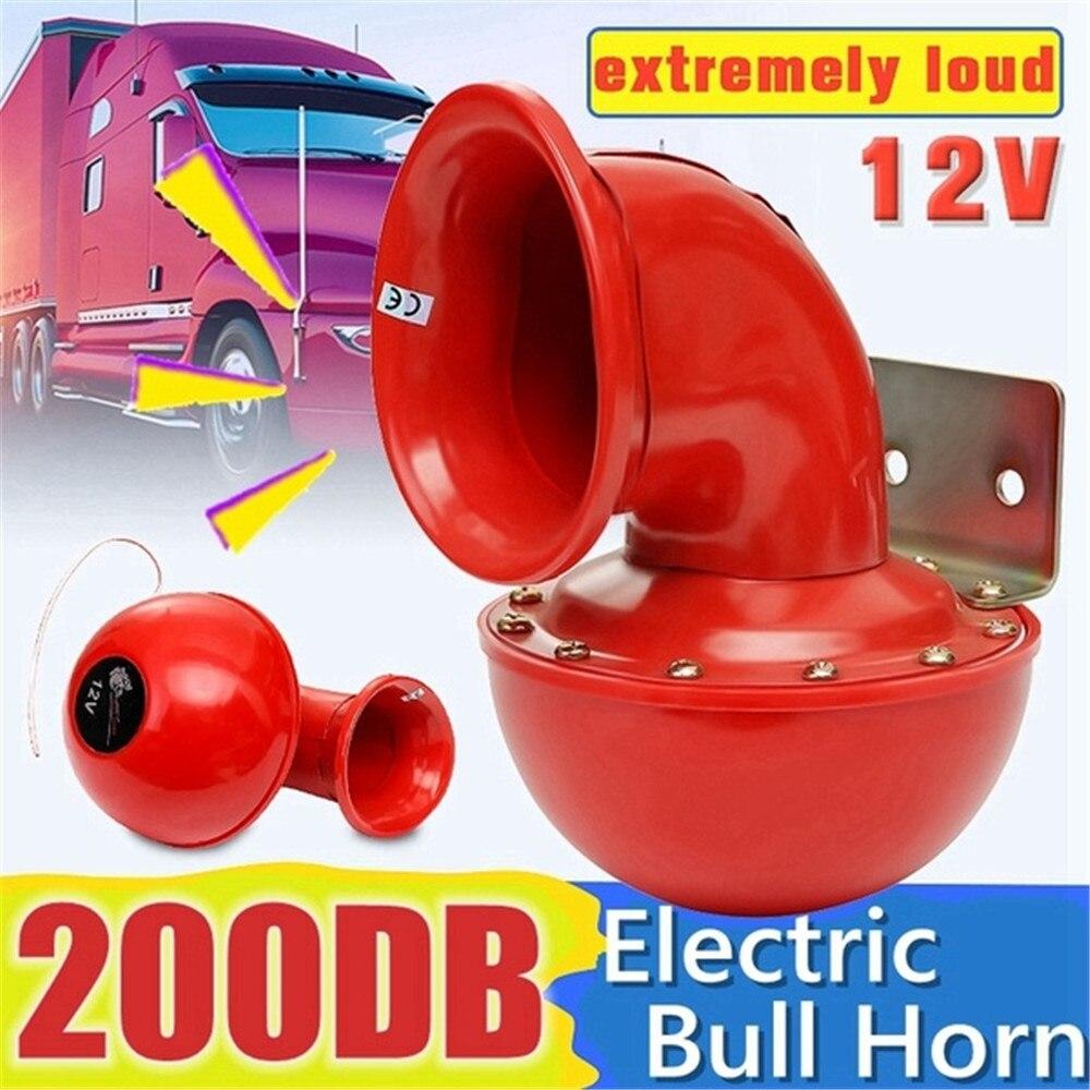 Chifre de ar 12 v vermelho chifre de touro elétrico alto 200db chifre de ar fúria som para carro motocicleta caminhão barco