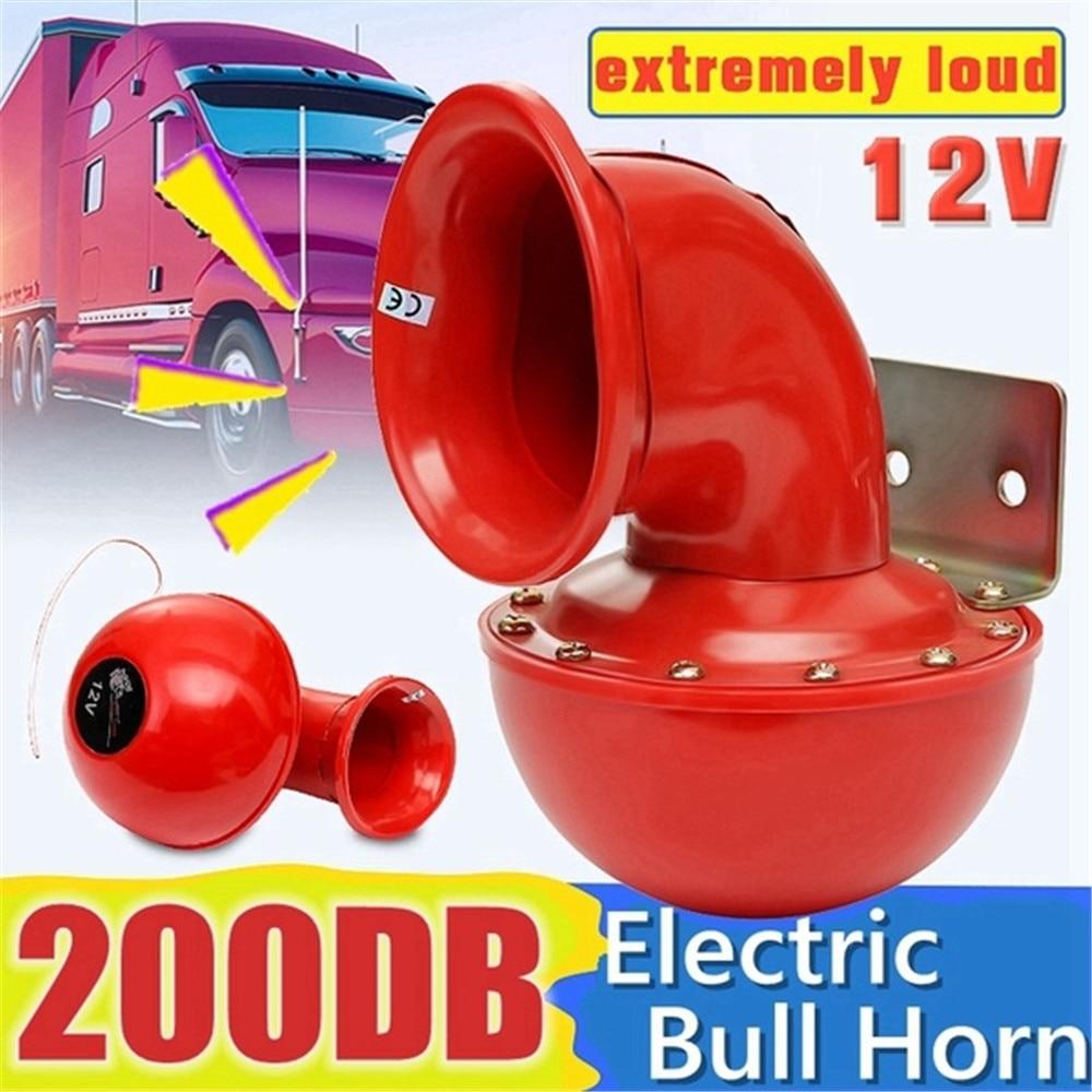 Havalı korna 12V kırmızı elektrikli boğa boynuz Loud 200DB havalı korna azgın ses araba motosiklet kamyon tekne