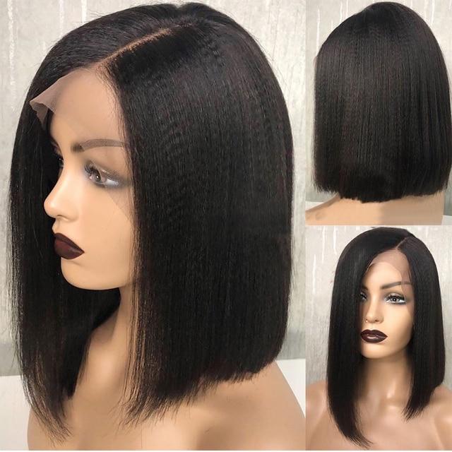 Kinky prosto 13x4 koronki przodu włosów ludzkich peruk dla kobiet 130 i 150 gęstości Yaki Remy malezyjski peruka z krótkim bobem niski współczynnik oskubane
