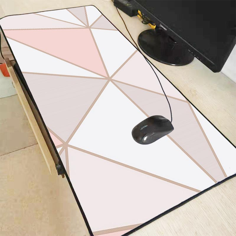 Mairuige White Pink Marble Design Office Mice Gamer Soft Large Lock Edge Mouse Pad Size For 30x80cm And 40x90cm Gaming Mousepads