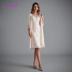 Licht Rosa Frauen der Mutter der Bräutigam Kleider Tee Länge Spitze Mutter der Braut Kleid mit Jacke Formale abendkleider