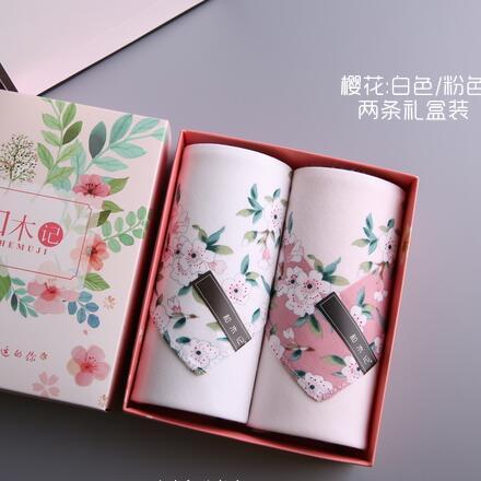 100% Cotton Handkerchief Women Cherry Blossoms 43*43cm