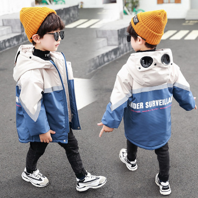 Coat Boys Winter New Autumn Velvet And Plus Hooded with Glasses Pie Overcome Letters