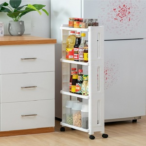 Image 3 - WBBOOMING Kitchen Storage Rack Fridge Side Shelf 3 and 4 Layer Removable With Wheels Bathroom Organizer Shelf Gap Holder