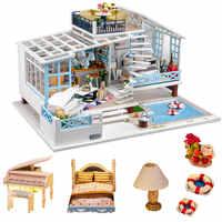 Muñeca de tema de vacaciones casa piscina casas de muñecas de madera miniatura diy casa de muñecas kast furniture kit casa giocattolo