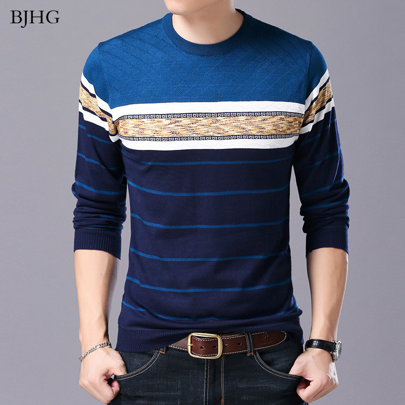 BJHG Men Sweater O-Neck Casual Striped Sweaters Autumn Winter Brand Mens Pullovers
