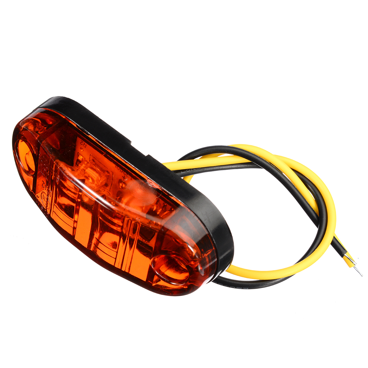 4pcs/set Amber 2LED Light 12V 24V Oval Clearance Car Trailer Truck LED Side Marker Light Lamp Bulbs Waterproof