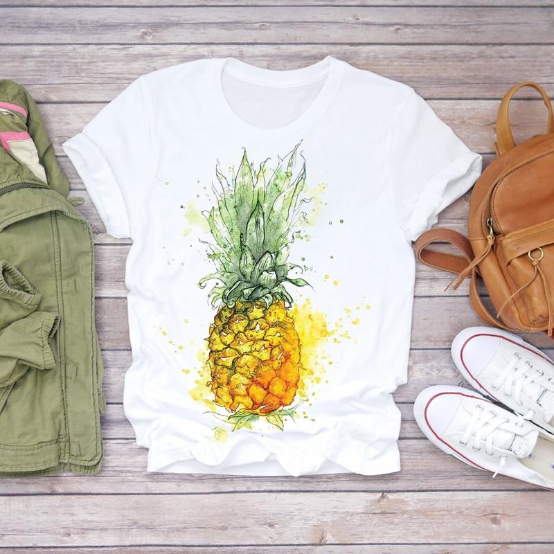 Women 2020 Summer Pineapple Watercolor Fruit Cute Cartoon Lady T-shirts Top T Shirt Ladies Womens Graphic Female Tee T-Shirt