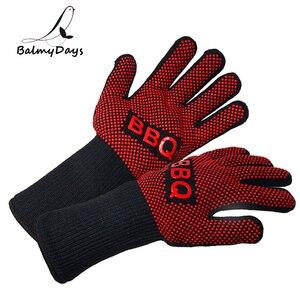 Image 1 - Перчатки для барбекю, термостойкие силиконовые варежки для гриля и выпечки, с изоляцией, аксессуары для барбекю