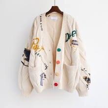 Cardigan en tricot chaud pour femmes, chandail ample avec poches brodées, à la mode, collection automne-hiver 2021