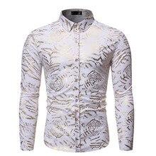 Повседневные мужские рубашки slim fit с печатным принтом, блузка с отложным воротником и длинными рукавами, Мужская уличное платье, Топы camisa masculina