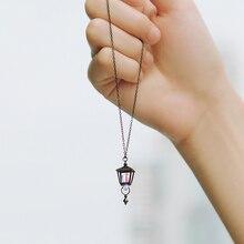 Thaya S925 فضة قلادة سوداء شكل مصباح الروماني ضوء لون تصميم للنساء مجوهرات حقيبة هدية للسفر