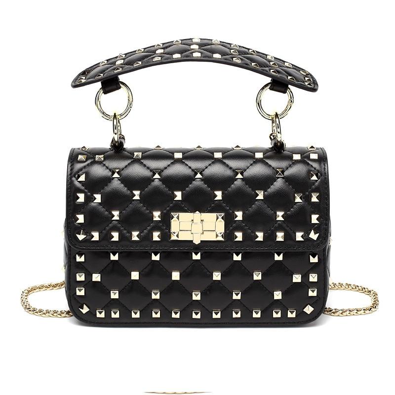 Genuine Leather Women Bag Rivet Sheepskin Ringer Chain Bag Women's New Chaotote Bag Fashio Single Shoulder Messenger Bag
