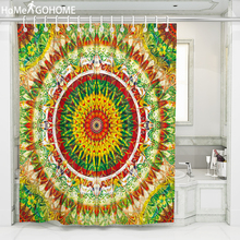 Mandala Fabric Shower Curtain Waterproof Bath Curtain Large Drapes Rainbow Gradient Artistic Flowers Bathroom Curtain with Hooks