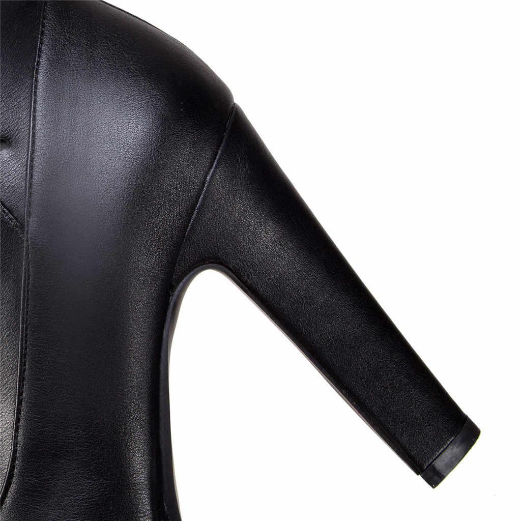 ฤดูหนาวรองเท้าหนังผู้หญิงเข่าสูงรองเท้าบูทยาวสุภาพสตรี Decor รองเท้าผู้หญิงแพลตฟอร์ม Elegant botines negros mujer #1024g25