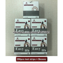 250PCS EasyHbฮีโมโกลบินทดสอบเครื่องTest Strips/ฮีโมโกลบินทดสอบแถบ/แถบฮีโมโกลบินเมตร (แถบหมดอายุวันที่2022 07)