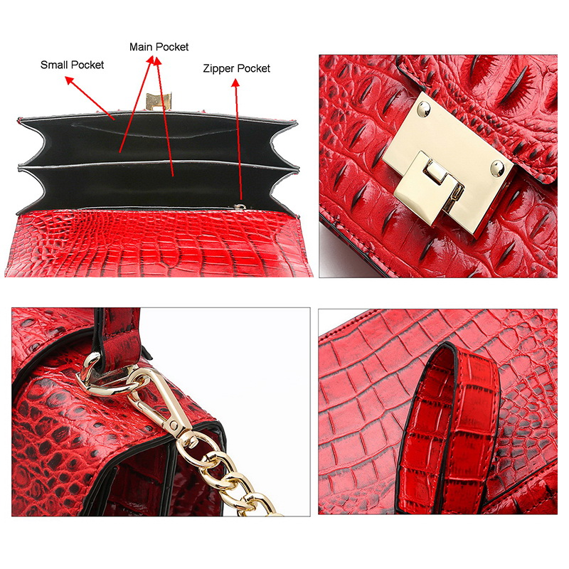 FUNMARDI Small Lock Flap Shoulder Bags Crocodile Designer Ladies Handbag Chain Strap Crossbody Bag PU Leather Women Bag WLHB2009 in Top Handle Bags from Luggage Bags