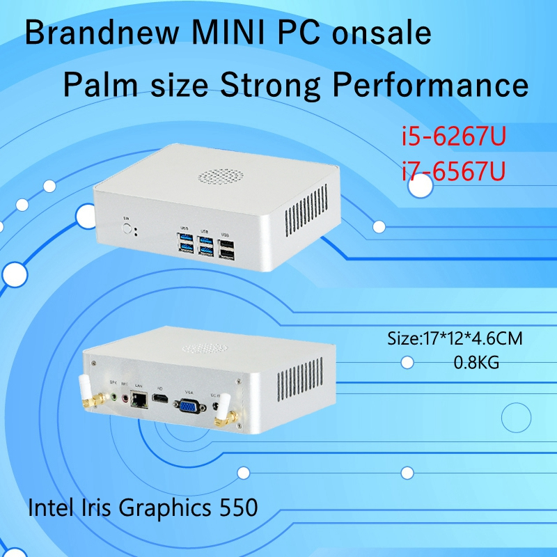 Newest Skylake 6Gen Mini PC I5 6267U/i7 6567U Intel Iris 550 Win10 DualCore 4 Threads Mini NUC Freeshipping  Pc