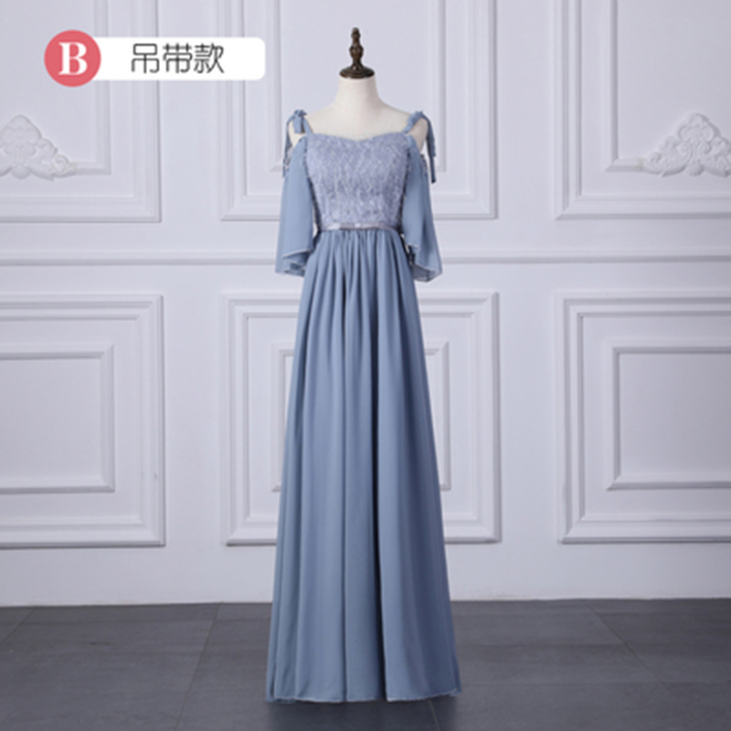 Elegant Chiffon Long Dress For Wedding Party For Woman Vestido Largo Sirena Blue Burgundy Bridesmaid Dresses Sister Sexy Prom
