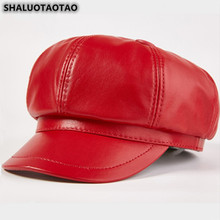 SHALUOTAOTAO Trend Autumn Fashion Sheepskin Newsboy Caps New Genuine Leather Hat For Women Elegant Noble Lady Brands Student Cap