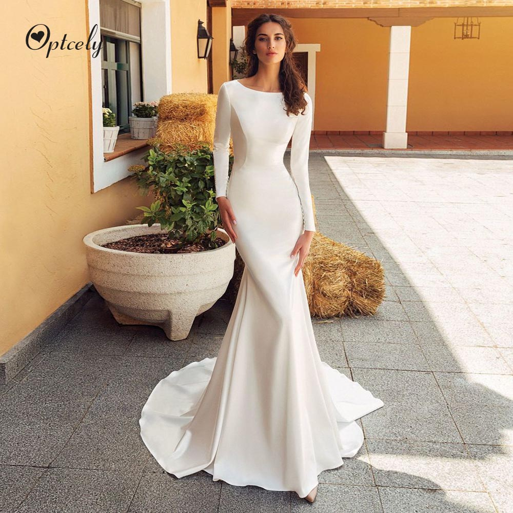 Optcely Sexy Mermaid Scoop-Neck Long Sleeve Hot Sale Wedding Dress 2019 Train Appliques Sweep Train Bridal Gown Vestido De Noiva