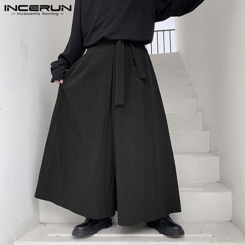 INCERUN Joggers Fashion Men Solid Elastic Waist Wide Leg Pants Retro Casual Trousers Chic Trend Comfort Cotton Mens Streetwear
