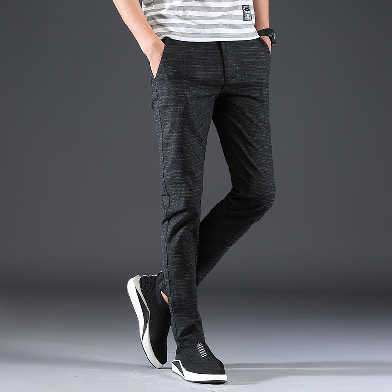 2019 God-688-Korean-Style Pants Men's Slim-Fit Pencil Pants Simple Brushed Casual Pants To Fight A Lot Of Explosion