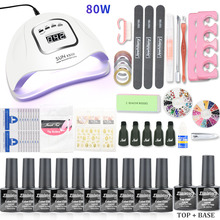 Nail Art Sets 10pcs Gel Polish Set With 80W UV LED Lamp Kit Manicure Tools Top Coat Base