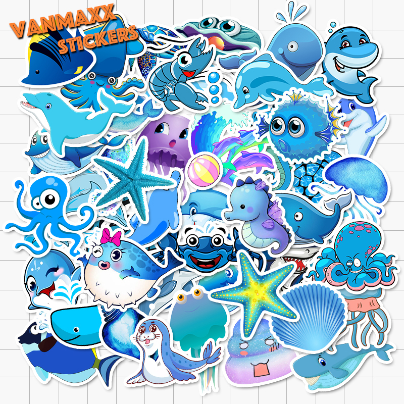 VANMAXX 50 PCS Sea World Blue Fish Sharks Dolphin Jellyfish Stickers Waterproof Vinyl Decal for Laptop Helmet Bicycle Luggage